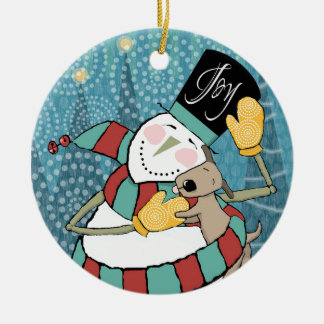 Joyful Holiday Snowman Wraps Puppy in Scarf Christmas Tree Ornament