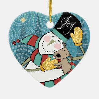 Joyful Holiday Snowman Wraps Puppy in Scarf Christmas Ornament