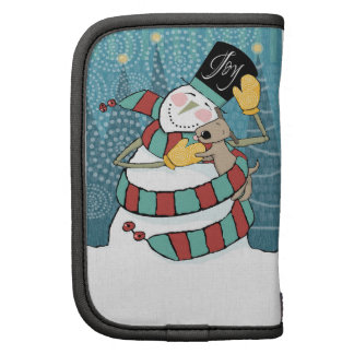 Joyful Holiday Snowman Wraps Puppy in Scarf Folio Planners