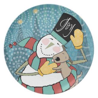 Joyful Holiday Snowman Wraps Puppy in Scarf Plate