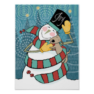 Joyful Holiday Snowman Wraps Puppy in Scarf Print