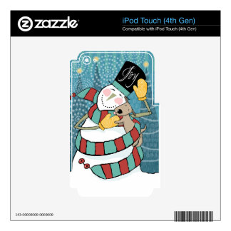Joyful Holiday Snowman Wraps Puppy in Scarf Decals For iPod Touch 4G