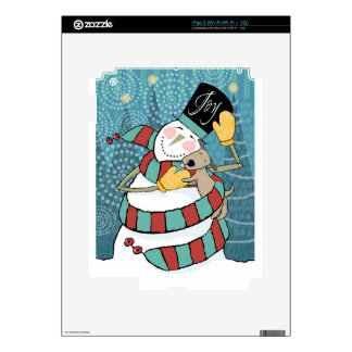 Joyful Holiday Snowman Wraps Puppy in Scarf Decal For iPad 2