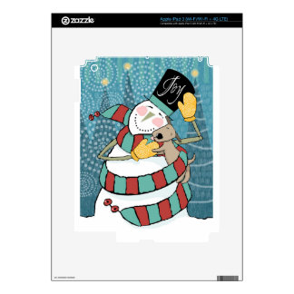 Joyful Holiday Snowman Wraps Puppy in Scarf Decal For iPad 3