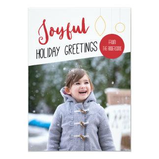 Joyful Holiday, White Background Photo Christmas Card