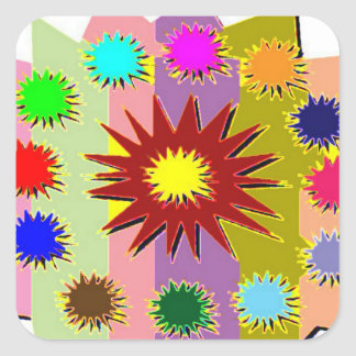 Joyful Kids Color Blasters n Sunflower Formations Square Sticker