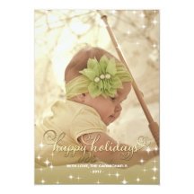 Joyful Lights Gold Happy Holidays Photo Card Personalized Invite