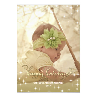 "Joyful Lights Gold Happy Holidays Photo Card 5"" X 7"" Invitation Card"