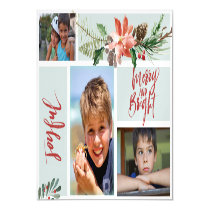 Joyful Merry and Bright Photo Collage Blue Red Magnetic Invitation