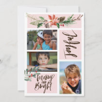 Joyful Merry and Bright Watercolor Christmas Photo Holiday Card