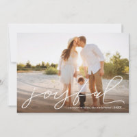 Joyful Modern Christmas Handwritten Script Photo Holiday Card