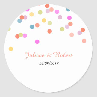 Joyful | Modern Confetti Wedding Sticker