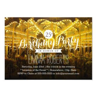 Joyful Night Time Merry Go Round Birthday Party 5x7 Paper Invitation Card