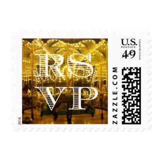 Joyful Night Time Merry Go Round RSVP Wedding Stamp