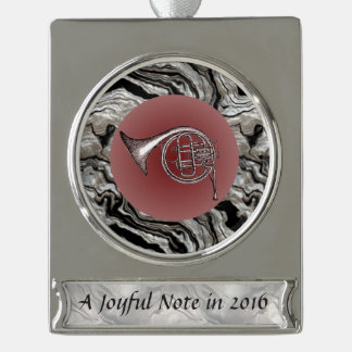 Joyful Note French Horn Drawing Custom Text Silver Plated Banner Ornament