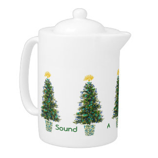 Joyful Note Musically Decorated Christmas Tree Teapot