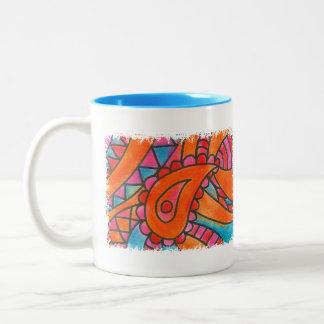 joyful paisley Two-Tone coffee mug
