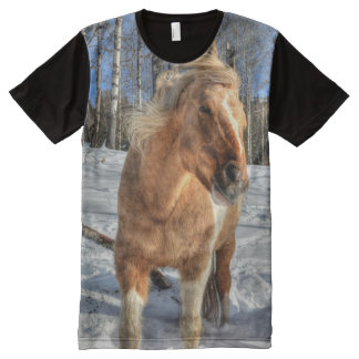 Joyful Palomino Paint Pinto Horse and Winter Snow All-Over-Print Shirt