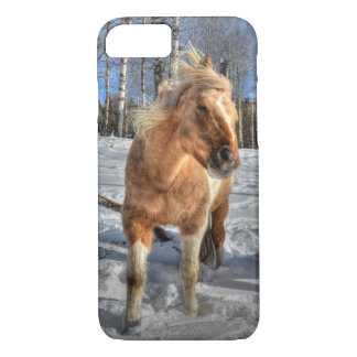 Joyful Palomino Pinto Horse and Snow iPhone 7 Case