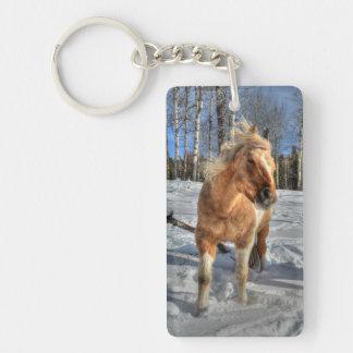 Joyful Palomino Pinto Horse and Snow Keychain