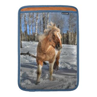 Joyful Palomino Pinto Horse and Snow MacBook Sleeve