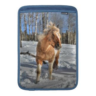 Joyful Palomino Pinto Horse and Snow Sleeve For MacBook Air