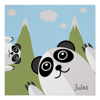 Joyful pandas print