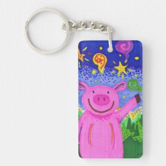 Joyful Pig Rectangular Key Chain