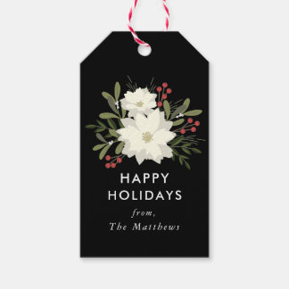 Joyful Poinsettia Christmas Gift Tags