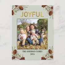 Joyful Rustic Green Photo Christmas Holiday