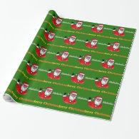 Joyful Santa Claus Christmas holiday green Gift Wrap Paper