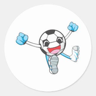 Joyful Soccer Player Jumping Classic Round Sticker