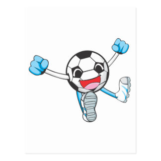 Joyful Soccer Player Jumping Postcard