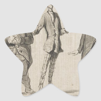 Joyful Song Performed by M. Cobden Honore Daumier Star Sticker