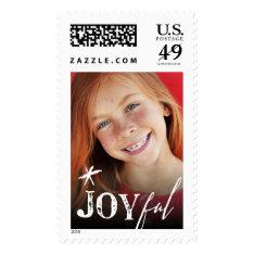 Joyful Star Modern Christmas Holiday Photo Stamps at Zazzle