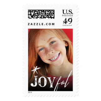 Joyful Star Modern Christmas Holiday Photo Stamps