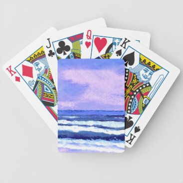 Beach Themed Joyful Sunrise Purple Lilac Ocean Waves Gifts Bicycle Playing Cards