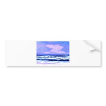 Beach Themed Joyful Sunrise Purple Lilac Ocean Waves Gifts Bumper Sticker