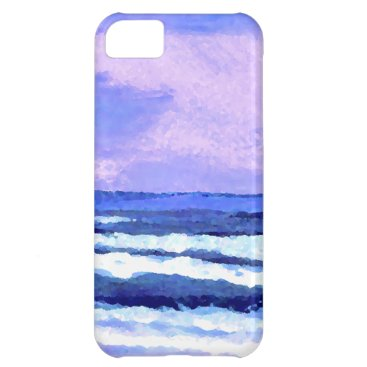 Beach Themed Joyful Sunrise Purple Lilac Ocean Waves Gifts Case For iPhone 5C
