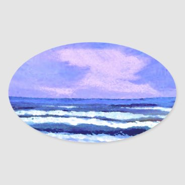 Beach Themed Joyful Sunrise Purple Lilac Ocean Waves Gifts Oval Sticker