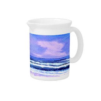 Joyful Sunrise Purple Lilac Ocean Waves Gifts Beverage Pitchers
