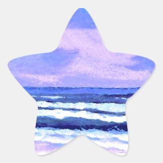 Joyful Sunrise Purple Lilac Ocean Waves Gifts Stickers