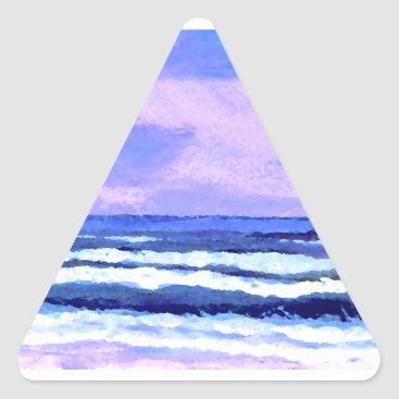 Beach Themed Joyful Sunrise Purple Lilac Ocean Waves Gifts Triangle Sticker