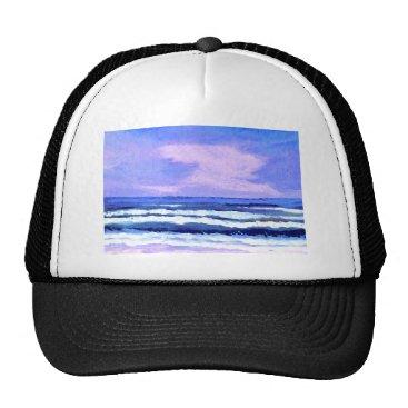 Beach Themed Joyful Sunrise Purple Lilac Ocean Waves Gifts Trucker Hat