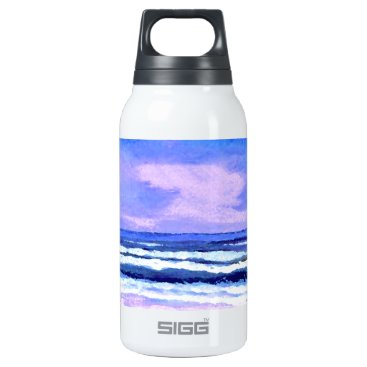 Beach Themed Joyful Sunrise Purple Lilac Ocean Waves Insulated Water Bottle