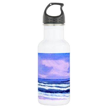 Beach Themed Joyful Sunrise Purple Lilac Ocean Waves Stainless Steel Water Bottle