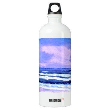 Beach Themed Joyful Sunrise Purple Lilac Ocean Waves Water Bottle