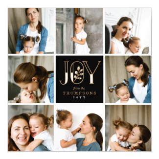 Joyful Tiles 8 Photo Holiday Magnetic Invitations