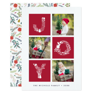 Joyful Type   Three Photo Holiday Card