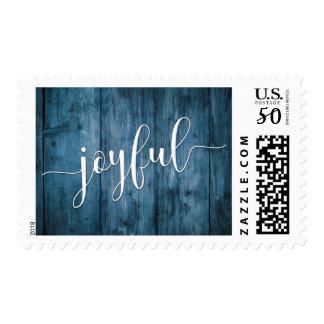Joyful Typography and Rustic Blue Wood Postage